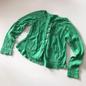 Mini Boden green cotton cardigan sz 7-8 girl